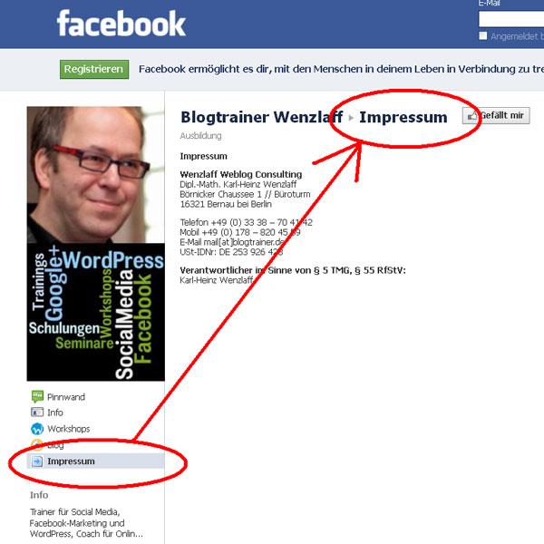 Facebook-Impressum
