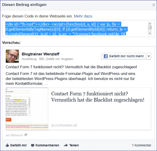 Einbettungscode für Facebook-Posts