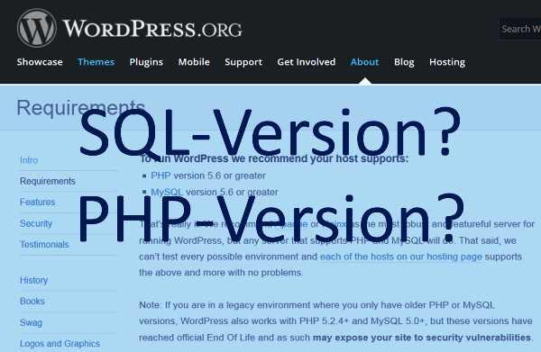 wordpress-sql-php-version