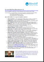 Neues WordPress-Blog optimieren I (PDF zum Mitnehmen, Klicken Sie auf die Grafik)