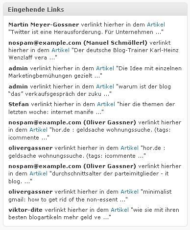 Anzeige der eingehenden Links im WordPress-Dashboard