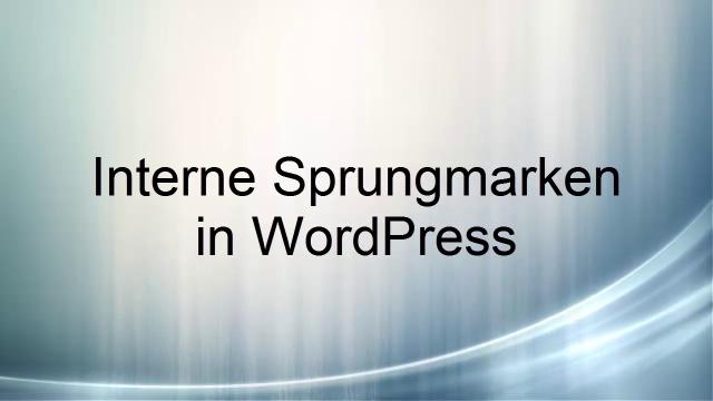 interne Sprungmarken in WordPress