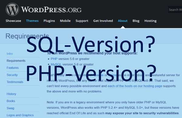 wordpress-sql-php-version